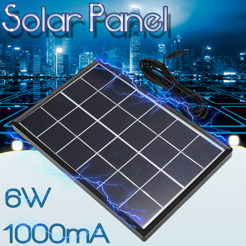 Durable <font><b>6V</b></font> <font><b>6W</b></font> Polysilicon <font><b>Solar</b></font> <font><b>Panel</b></font> <font><b>Solar</b></font> System DIY For Battery Cell Phone Chargers Portable <font><b>Solar</b></font> Cell with Cable & Border image