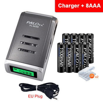 PALO AAA rechargeable battery aaa batteria ni-mh 1.2v batteries with LCD display charger for aa aaa ni-mh ni-cd battery power tool battery 18v ni cd ni mh 5000mah rechargeable for hitachi drill eb1820 eb1814 eb1826hl eb1830hl 322437 battery