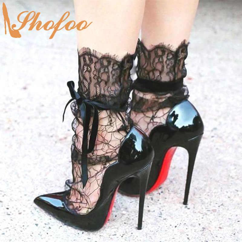 Red Bottom Black Stilettos High Heels