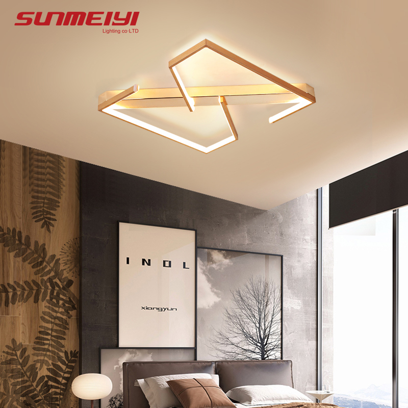 Modern Gold Ceiling Lights Aluminum LED Light For Bedroom Kitchen Corridor Study Creative Square Dimmable With Remote Control