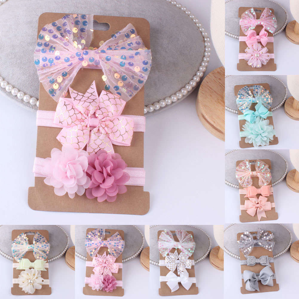 3Pcs Baby Girls Lace Sequined Bow Headband Hairband Soft Elastic Band Hair Accessories Cutel Lovely Stretch Headwear