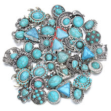 10 pçs/lote atacado snap jóias 18mm snap botões misturados pedra natural snaps para pulseira snap diy acessórios