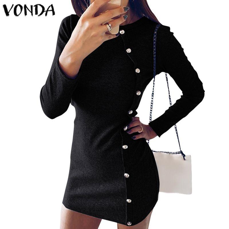 2020 Mini Dress For Women Beach VONDA Casual Shirt Dress Office Sexy Slim Long Sleeve Autumn Dress Fashion Vintage Party Dresses