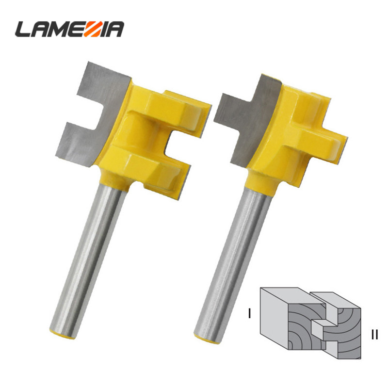 2pcs 1/4 Shank T-Slot Milling Cutter Carving Knife Square Tooth Tenon Router Bits For Wood Power Tool Woodworking Accessories