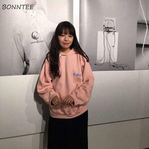Image 2 - Hoodies Women Harajuku Plus Velvet All match Letter Printed Womens Sweatshirts Long Sleeve Hooded Korean Style Ladies Pullover