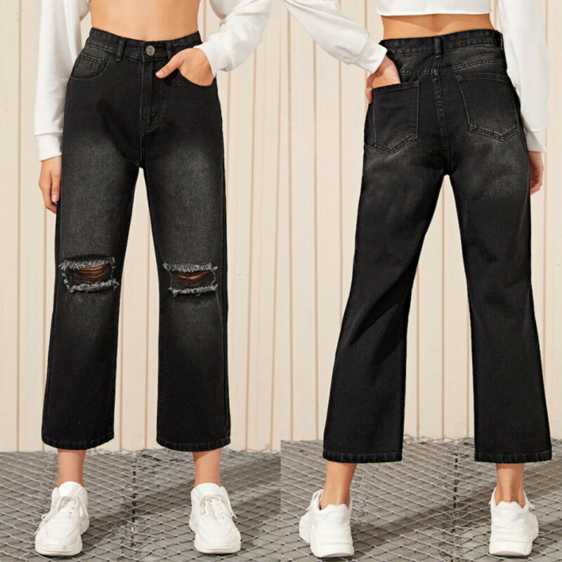 Brand New Women Black Straight Wide Leg Denim Trousers Ladies High Waist Long Jeans Pants Femele Vintage Hole Ankle Length Jeans