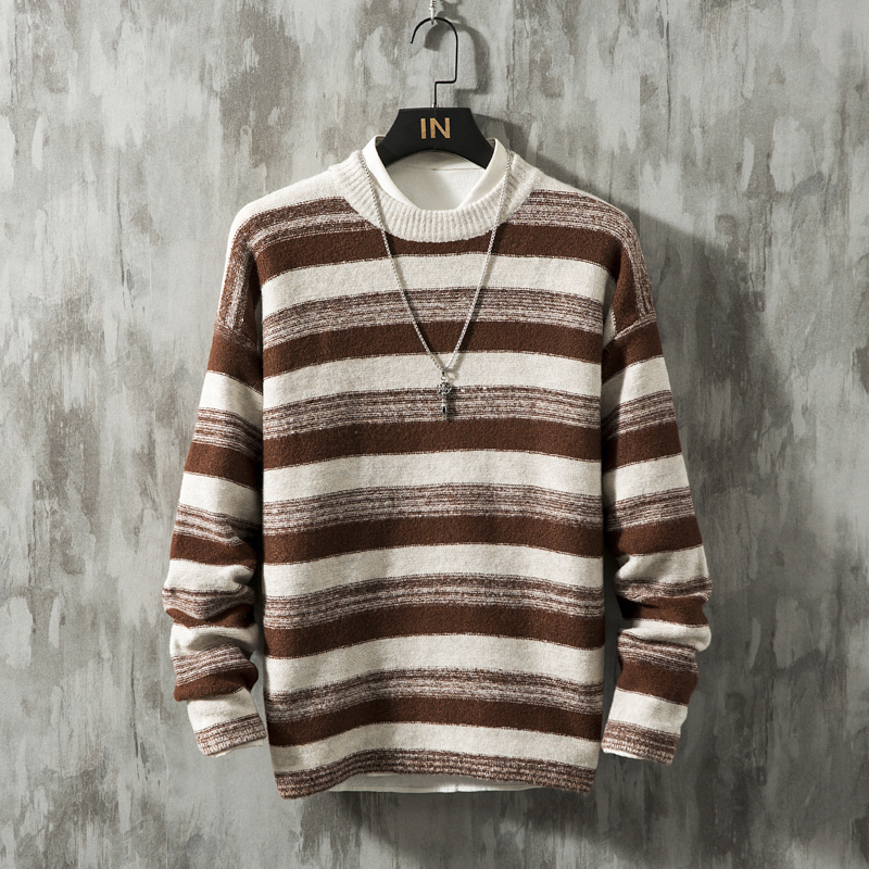 Winter Thick Sweater Men's Warm Slim Fashion O-neck Knit Pullover Men Wild Casual Striped Sweaters Male Clothes M-5XL Large Size