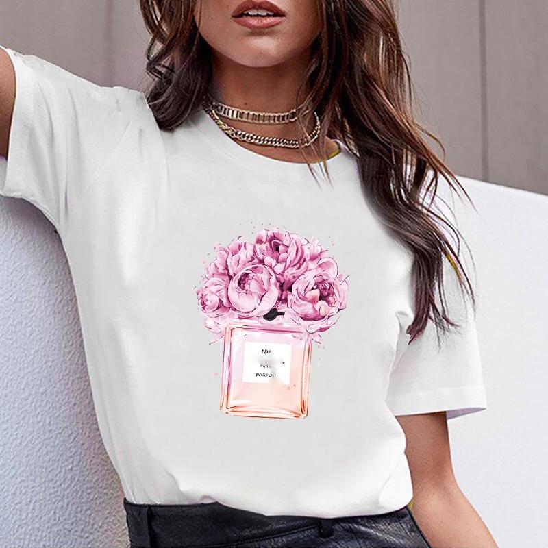 여성 의류 인쇄 꽃 향수 병 달콤한 짧은 소매 tshirt 인쇄 된 여성 셔츠 t 여성 t-셔츠 탑 캐주얼 여성 티