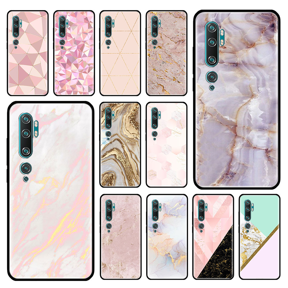 Pink Rose Gold Marble Case For Xiaomi Mi Note 10 9 CC9 9T Pro 5G CC9E 8 A3 A2 Lite X2 F1 Black Soft Bags Phone Cover