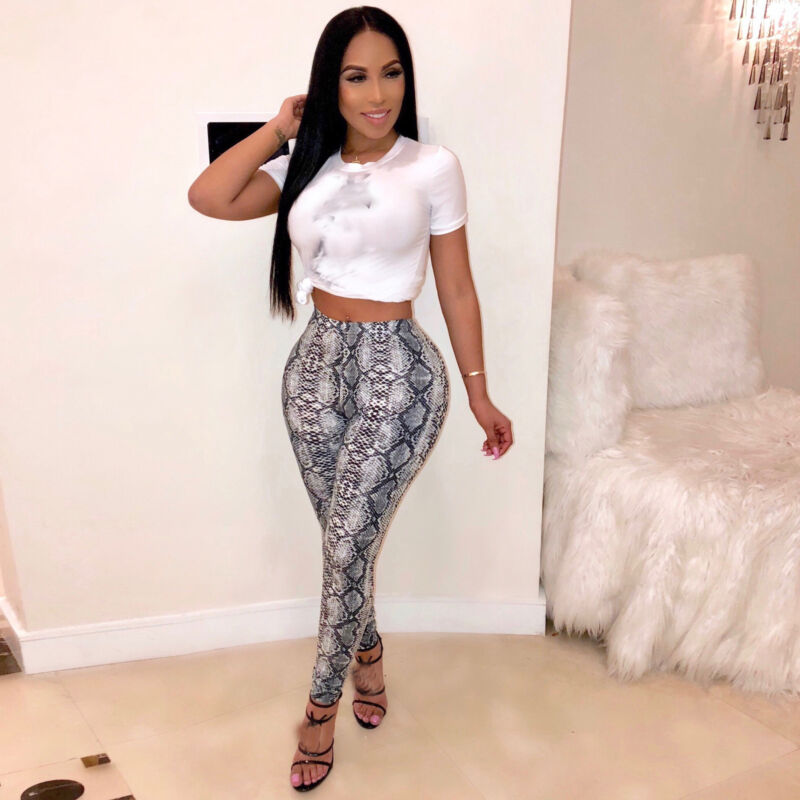 Sexy Ladies Womens Snake Skin Print Leggings Pants Slim Fit Trousers Gray Yellow Pants Scrunch Bottom