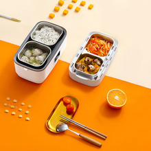 220V Electric Double-layer Lunch Box Stainless Steel Liner Rice Food Heating Timing Insulation Cooker for Office Home Lunchbox cukyi 1 9l portable electric cooker rice cooker home office enough for 2 4 persons water partition cooking three layer