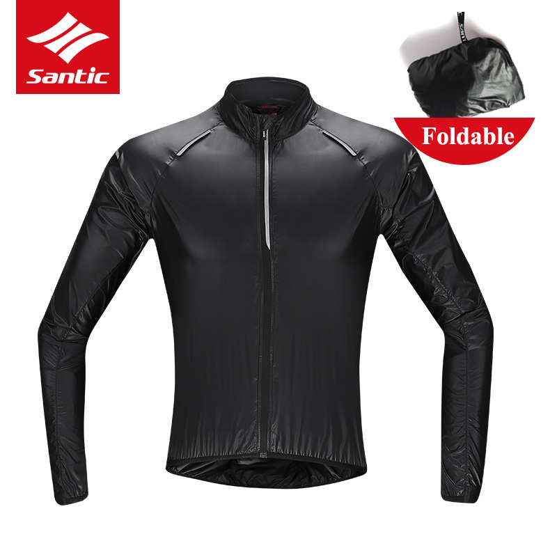 Santic Men Folding Ultralight Cycling Outdoor Sports Skin Small Rain Windproof Coat Waterproof Cycling Jackets Raincoat Clothes