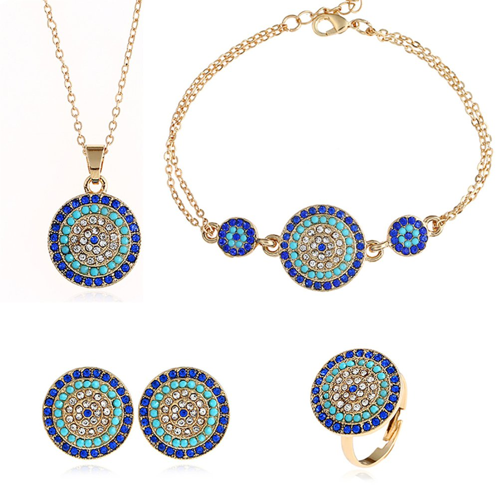 Blue Eye Necklace Matching Dangle Earrings Jewelry Set for Women and Girls Luxurious Chic Jewelry Gifts