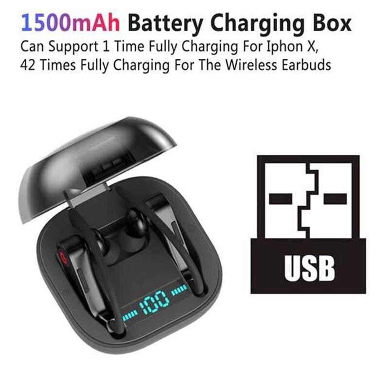 TWS Bluetooth 5.0 Wireless Sports Headphones Waterproof Portable In-Ear Earphones with 2200mAh LED Power Display Charging Box