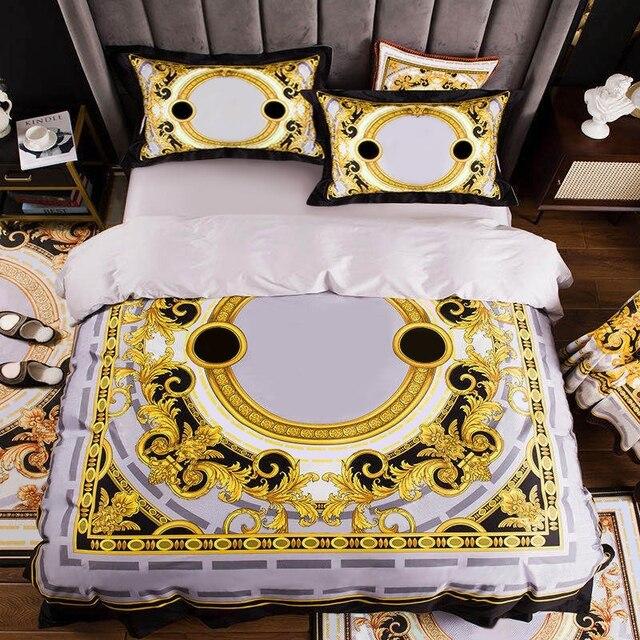 גבוהה סוף צרפתית איטליה עיצוב צהוב דפוס הדפסת 4PCS מלך מלכת גודל שמיכות לבן כחול זהב מיטת גיליון יוקרה מצעי סטים