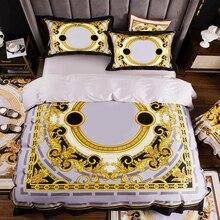 High end fransız İtalya tasarım sarı desen baskı 4 adet kral kraliçe boyutu yorgan beyaz mavi altın yatak çarşafı lüks yatak takımları