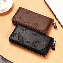 BISON DENIM luxury genuine leather men wallets brand male business long zipper clutch purse wallet