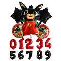 6 шт./компл. кролик тематическая вечеринка на день рождения с блестками; Большие размеры украшения baby shower набор одноразовой посуды красный к...