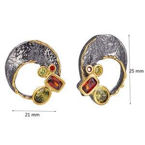 Image 4 - Goud/Zwart 2 Tone Stud Oorbellen Gat Ontwerp Vintage Sieraden Groene Rode Kristal Sieraden Nieuwste 2020 Oorbel Voor Vrouwen