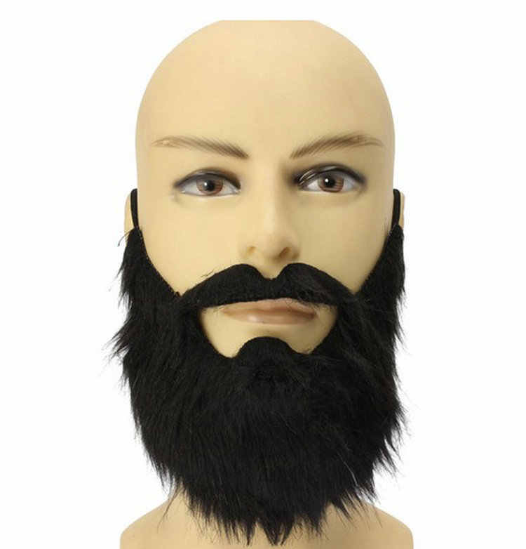 Engraçado Traje Do Partido Homem Macho Jogo Preto Bigode Barba Cabelo Facial Disfarce Máscara do Dia Das Bruxas