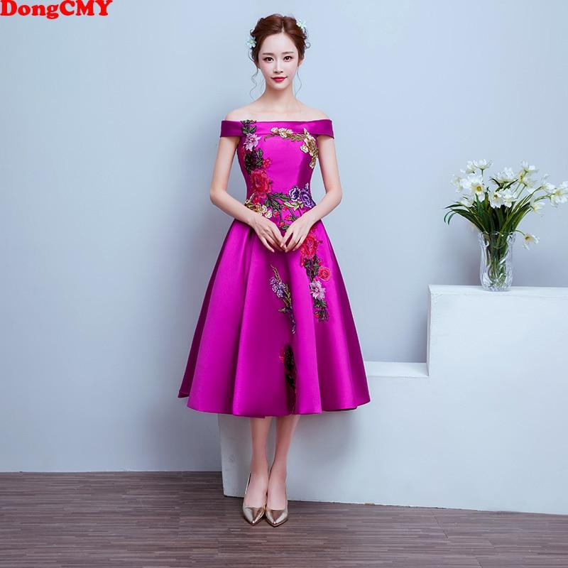DongCMY Flower Short Cocktail Dresses Vestidos Robe De Soiree New Elegant Party Prom Dress