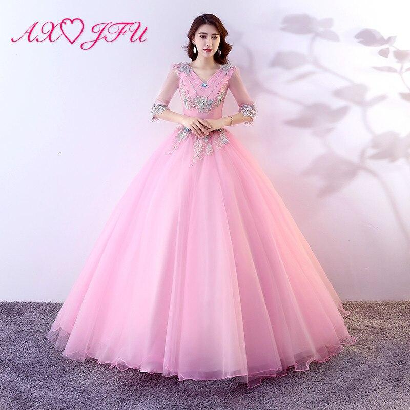 AXJFU princess pink lace bride   evening     dress   vintage v neck beading blue crystal half sleeve ruffles pink lace   evening     dress