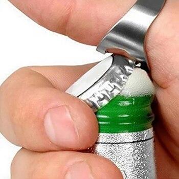 Multifunctional  Beer Opener Stainless Steel Versatile Finger Ring Bottle Opener Kitchen Accesories Portable Beer Cap Opening