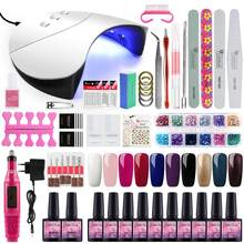 COSCELIA Kuku Set UV LED Lamp Pengering dengan Cat Kuku Kit Rendam Off Manicure Set Gel Cat Kuku untuk nail Art Alat(China)