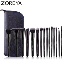 ZOREYA Classic Black Makeup Brushes 7/9/15pcs Comfortable Synthetic Hair Make Up Brush Set Foundation Eye Shadow Cosmetics Tool