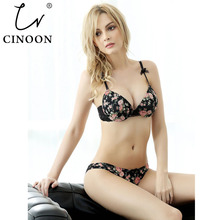 CINOON Seamless Flowers Push Up Women Bra 3/4 Cup Halter Plunge for Small ChestPink Romantic Lace Underwear VS