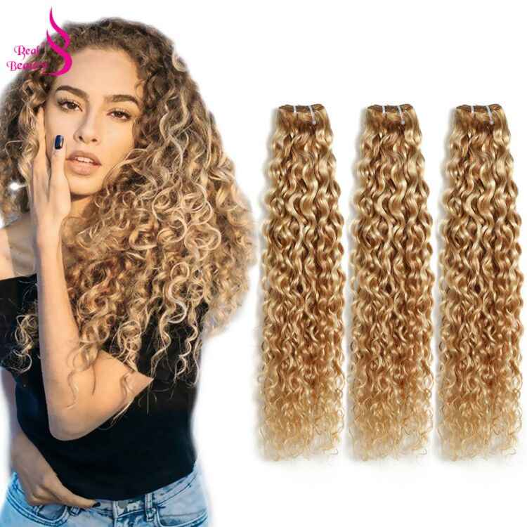 "Ombre P27/613 Water Wave 3 Bundles Brazilian Highlight Blonde Bundles Remy Human Hair Weave Bundles Real Beauty Two Tone 12""-24"""