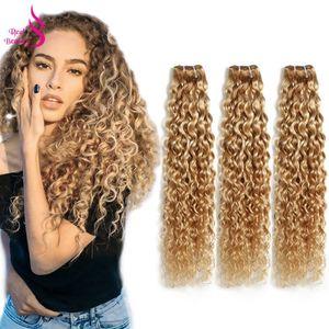 Ombre P27/613 3 пучка волнистых волос, бразильские светлые пучки, натуральные кудрявые пучки волос Remy, настоящие красивые двухцветные 12-24 дюйма