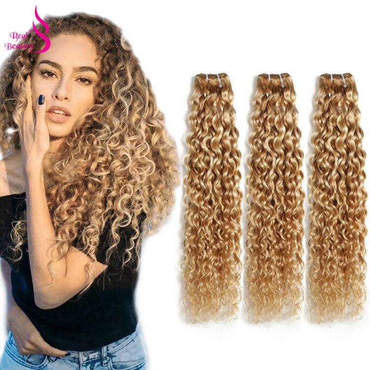Ombre P27/613 Water Wave 3 Bundles Brazilian Highlight Blonde Bundles Remy Human Hair Weave Bundles Real Beauty Two Tone 12