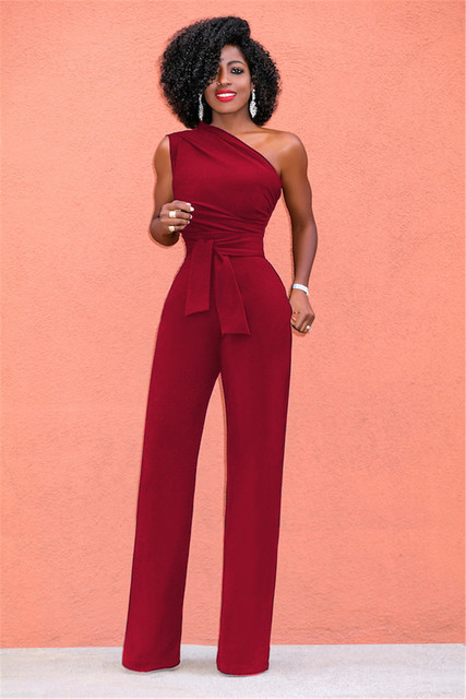 New Women Off Shoulder Casual Plus Size Jumpsuits Wide Leg Pants Summer Elegant Rompers Womens Jumpsuit Party Overalls Female