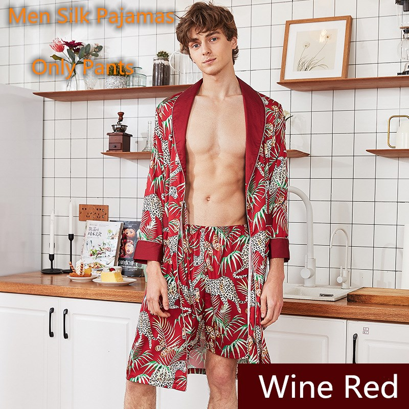 2020 Men Pyjama Pants Silk Stain Man Pajamas Pantalon Hombe Underwear Pyjama Summer Short Sleepwear Bottoms Luxury Men Clothes