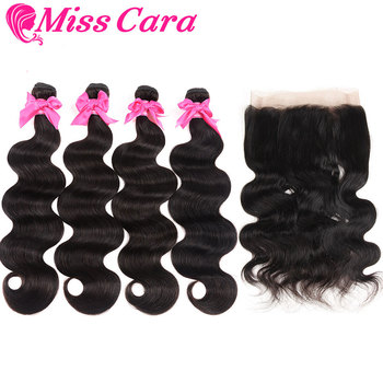 Peruvian Body Wave Bundles With 360 Lace Frontal 100% Human Hair 3/4 Bundles With Closure Miss Cara Remy Hair Weaves image