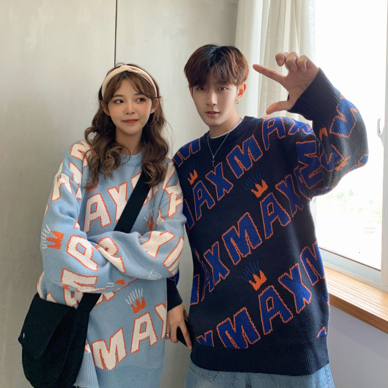 UYUK2019 Autumn And Winter New Casual Loose Fashion Trend Harajuku Wild Round Neck Letter Case Couple Sweater Clothes Hombre