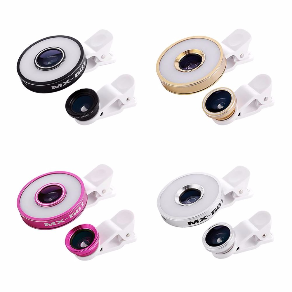 100pcs Multi LED Lens For iPhone 5 6 plus 6S 7 Samsung S7 Smart Phone Clip-on Flash light Fisheye Macro Wide angle Camera Lens image