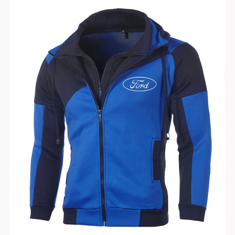 Ford Hoodie Sweatshirt Jacket Men Fashion Ford Logo Zipper Hoodie Cotton Double Zipper Sweatshirt Coat Outerwear