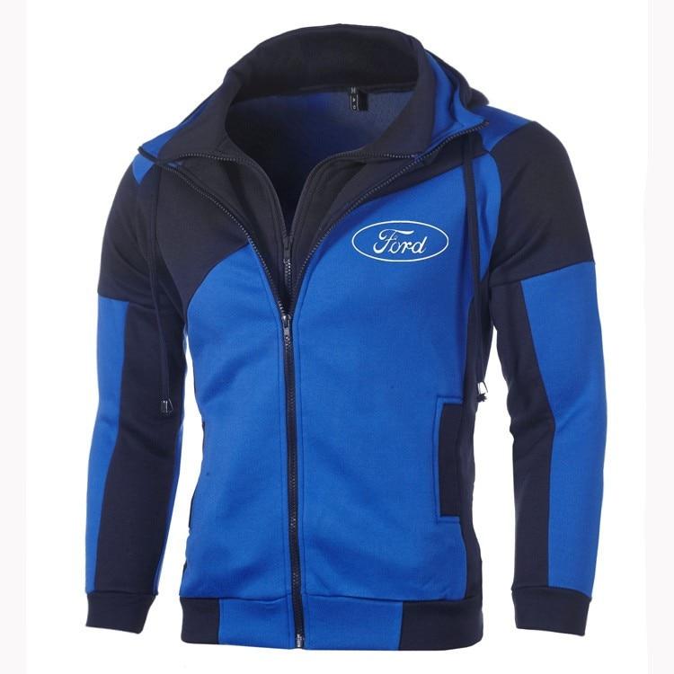 Ford Hoodie Sweatshirt Jacket Men Fashion Ford Logo Zipper Hoodie Cotton Double Zipper Sweatshirt Coat Outerwear