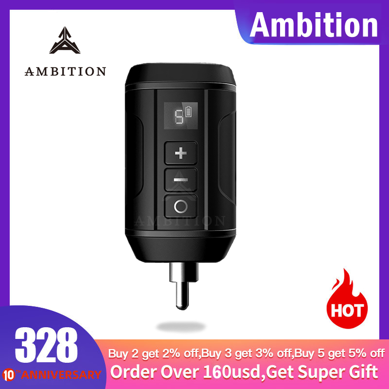 Ambition Wireless Mini Battery Tattoo Power Supply DC RCA AUDIO Connector Block For Tattoo Machine Pen Long Time Working