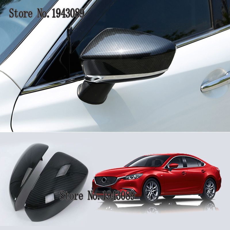 for <font><b>Mazda</b></font> <font><b>6</b></font> m6 Atenza 2017 2PCS ABS Car <font><b>Rear</b></font>-view Mirror <font><b>Covers</b></font> Shell Rearview Mirror Edge Guards Case image