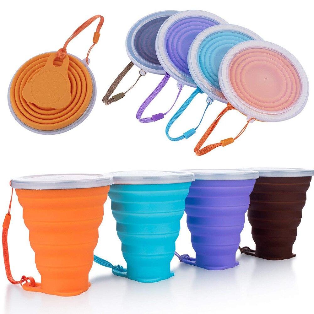 أكواب قابلة للطي 270 مللي خالية من BPA ، كوب ماء ، درجة طعام ، سيليكون ، قابل للسحب ، محمول ، خارجي|Coffee Cups & Mugs| - AliExpress