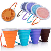 Folding Cups 270ml BPA FREE Food Grade Water Cup Travel Silicone Retractable Coloured Portable Outdoor Coffee Handcup