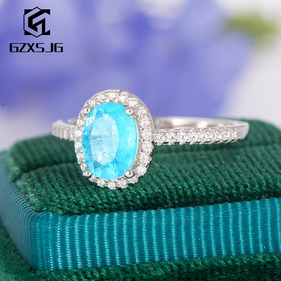 GZXSJG Brazilian Paraiba Tourmaline Gemstones Ring For Women Solid 925 Sterling Silver  Oval 6x8mm Blue Tourmaline Ring Size 10