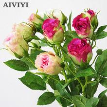4 głowice jedwabna róża sztuczne kwiaty długa łodyga dekoracje ślubne sztuczne kwiaty plastikowe gałęzie z liśćmi wystrój hotelu domu tanie tanio AIVIYI CN (pochodzenie) Kwiat Oddział Ślub Jedwabiu 70cm 28inch Silk Flower Branch