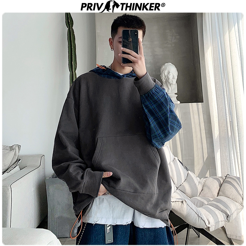 Privathinker Fashion Plaid Patchwork Men's Hoodies For Men 2020 Korean Men Casual Hooded Sweatshirts Streetwear Man Clothes