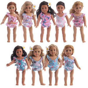 Doll Unicorn Pattern Set Swimsuit Clothes Accessories Fit 18 Inch American&43Cm Born Baby Our Generation Christmas Girl's Gift(China)