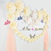 Купить с кэшбэком DIY Artificial Large Paper Rose Flowers Backdrop 15-50cm Full Kits For Wedding & Event Nursery Decor Floral Wall Art Drop Ship