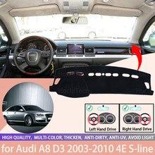 Dla Audi A8 D3 2003-2010 4E s-line konsola Dashboard Suede Mat Protector osłona przeciwsłoneczna